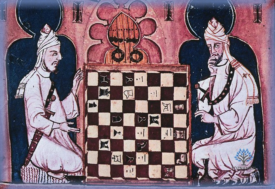 Знать за игрой в шахматы, фреска