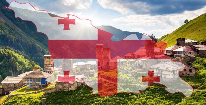 Контур, флаг и вид на горы Грузии