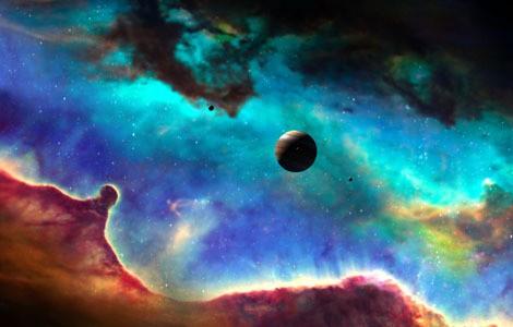 Беспризорная планета на фоне туманности