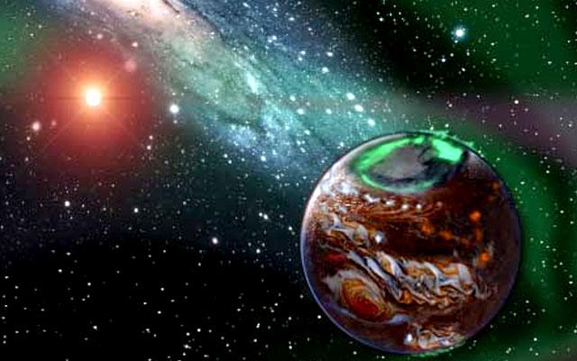 Планета-сирота на фоне ближайших галактики и звезды