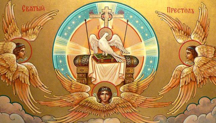 Изображение святого духа на престоле