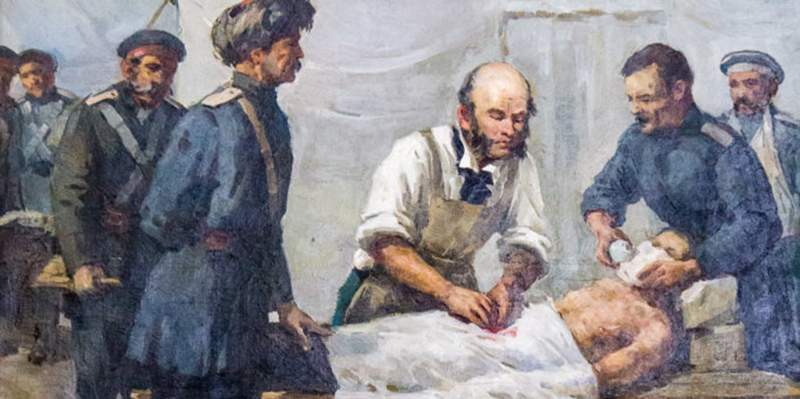 Н.И.Пирогов за работой