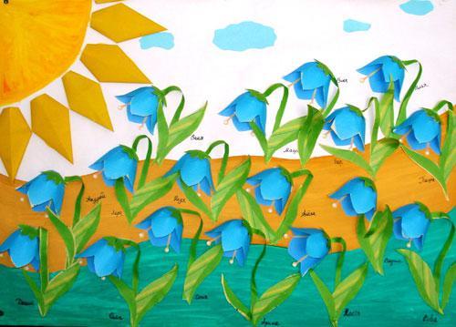"""Объемная аппликация в подготовительной группе """"Весенние цветы"""" : Работа с дошкольниками"""
